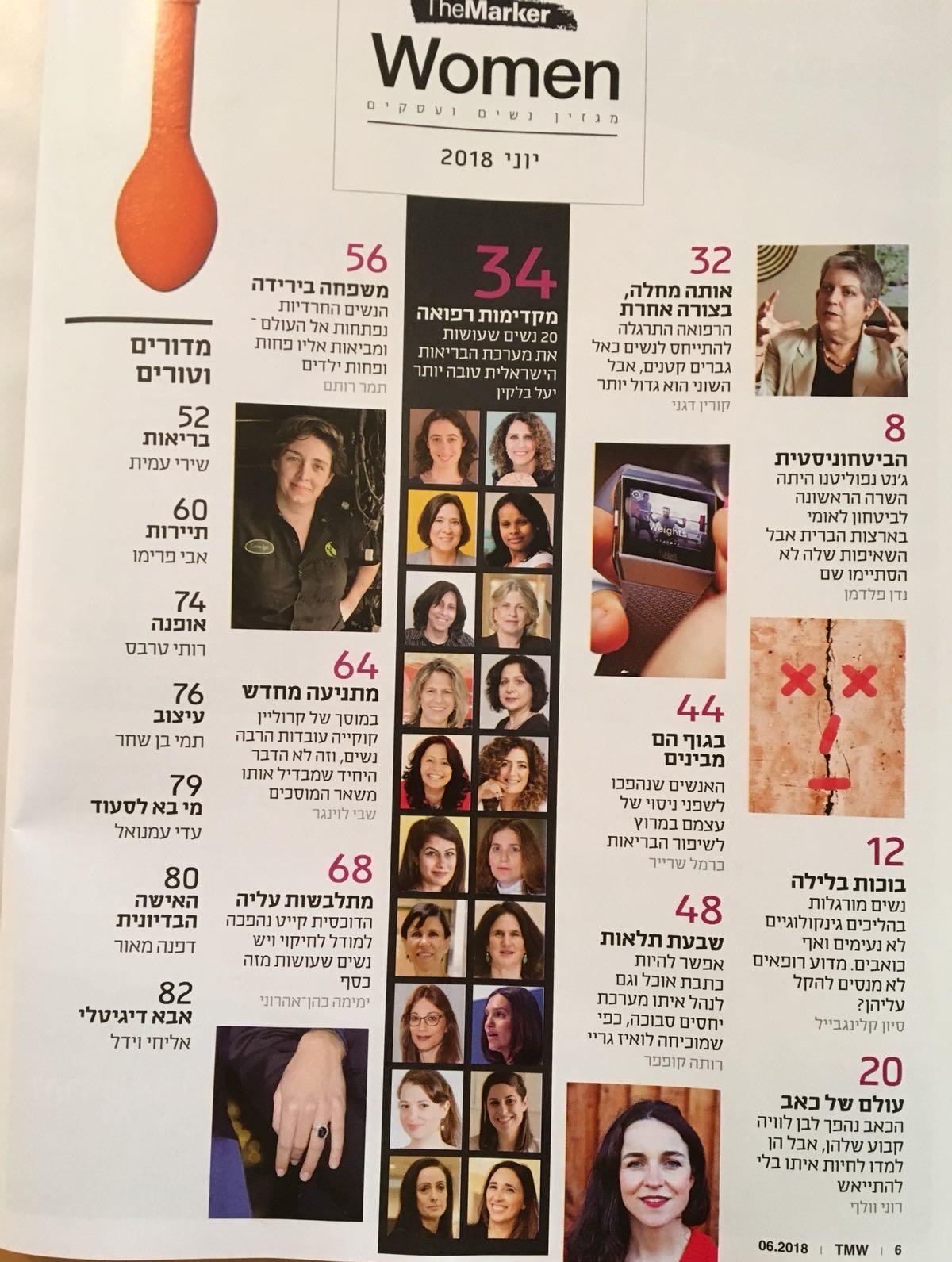ב דה מרקר נשים 5.6.18 רשימת 20 הנשים המשפיעות בבריאות